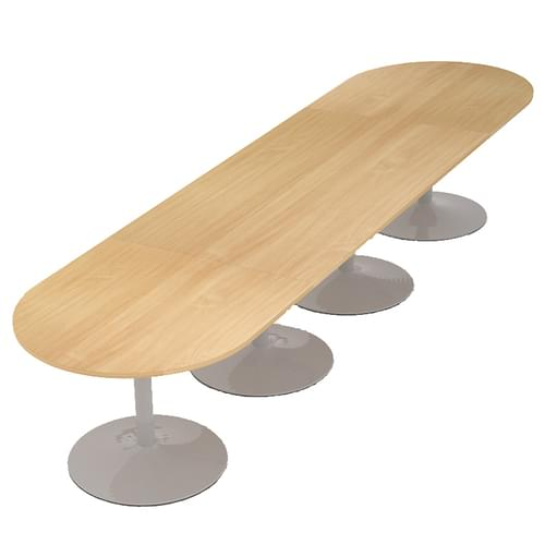 Trumpet base radial end boardroom table 4000mm x 1000mm - silver base and oak top