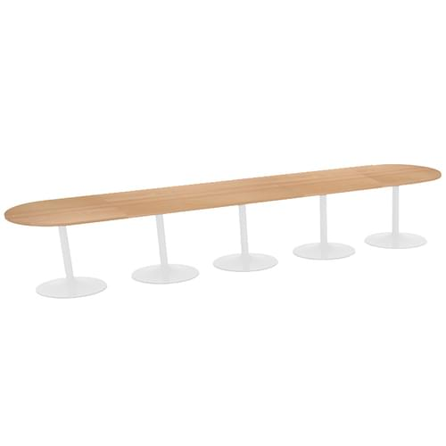 Trumpet base radial end boardroom table 5000mm x 1000mm - white base and beech top