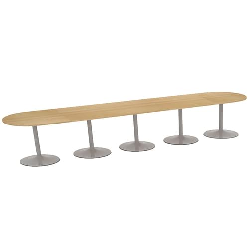 Trumpet base radial end boardroom table 5000mm x 1000mm - silver base and oak top