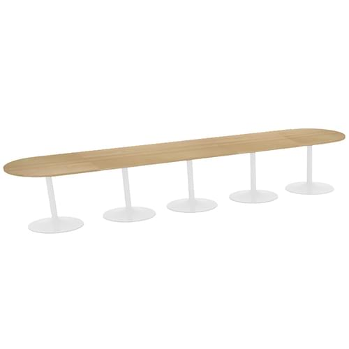 Trumpet base radial end boardroom table 5000mm x 1000mm - white base and oak top