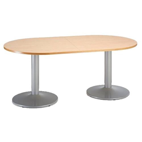 Trumpet base radial end boardroom table 2000mm x 1000mm - silver base and beech top