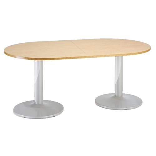 Trumpet base radial end boardroom table 2000mm x 1000mm - chrome base and oak top