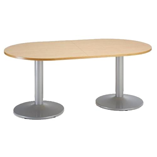 Trumpet base radial end boardroom table 2000mm x 1000mm - silver base and oak top