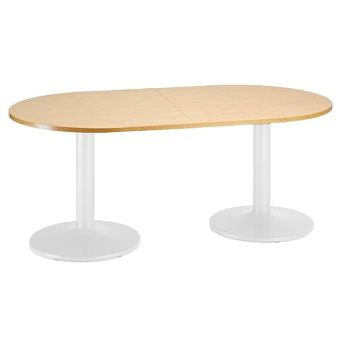 Trumpet base radial end boardroom table 2000mm x 1000mm - white base and oak top