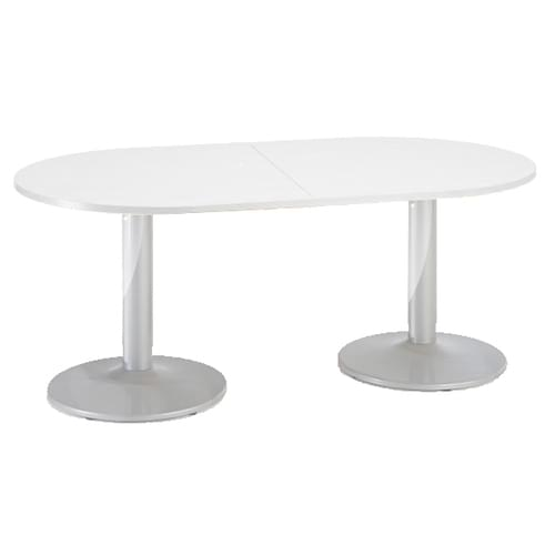 Trumpet base radial end boardroom table 2000mm x 1000mm - chrome base and white top