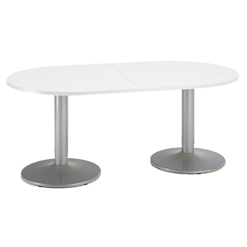 Trumpet base radial end boardroom table 2000mm x 1000mm - silver base and white top