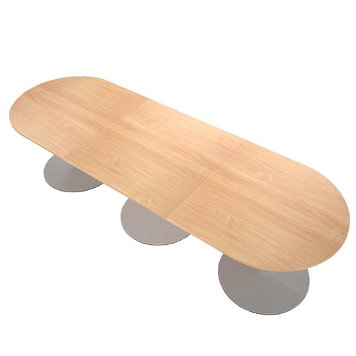 Trumpet base radial end boardroom table 3000mm x 1000mm - silver base and beech top