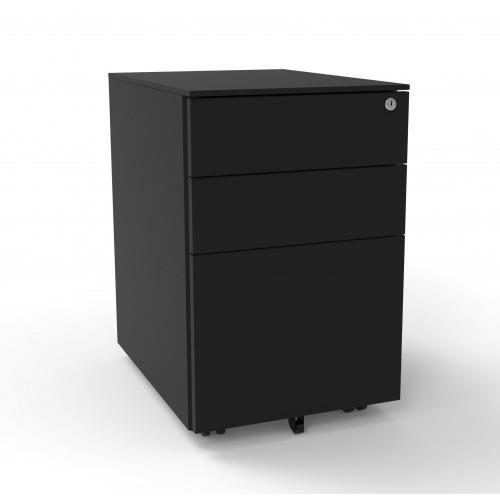 Black Steel 3 Drawer Pedestal