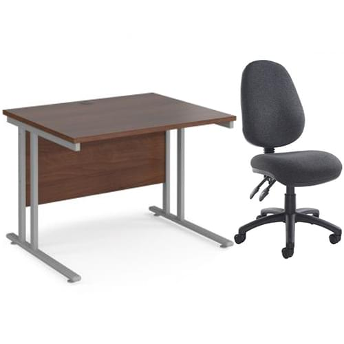 Maestro 25 straight desk and chair no arms bundle 1000mm x 800mm - silver cantilever leg frame walnut top