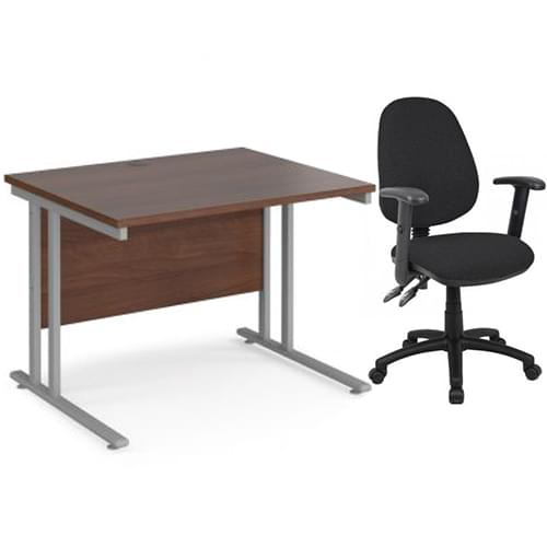 Maestro 25 straight desk and chair with arms bundle 1000mm x 800mm - silver cantilever leg frame walnut top