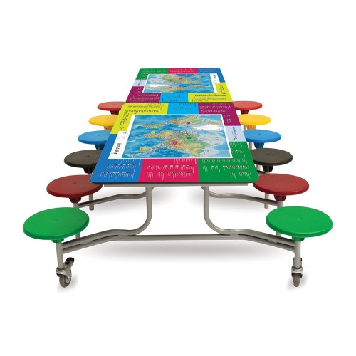 Spaceright 12 Seat World Map Smart Top Rectangular Folding Secondary School Dining Table