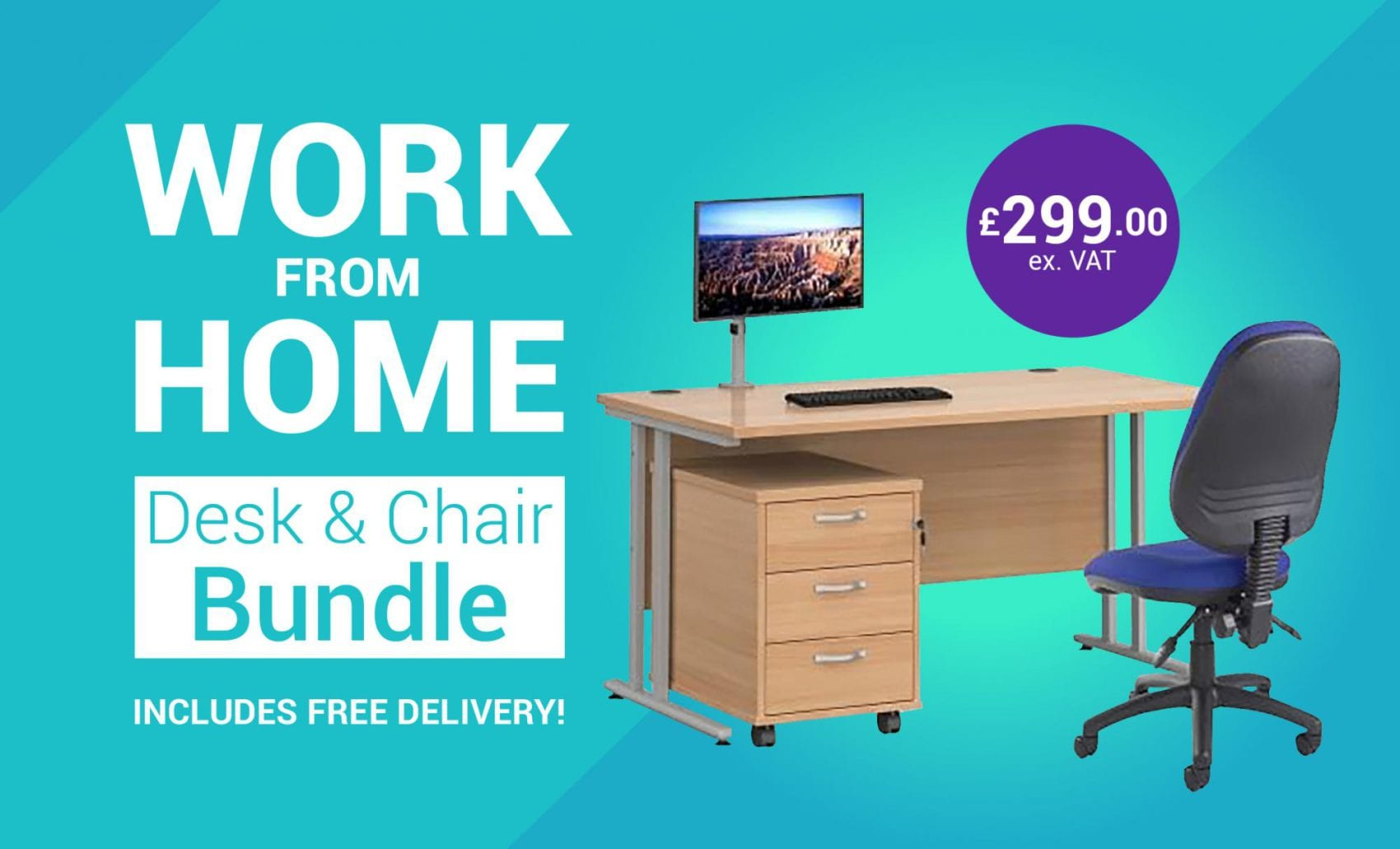 Work from Home Desk & Chair Bundle  - Free delivery