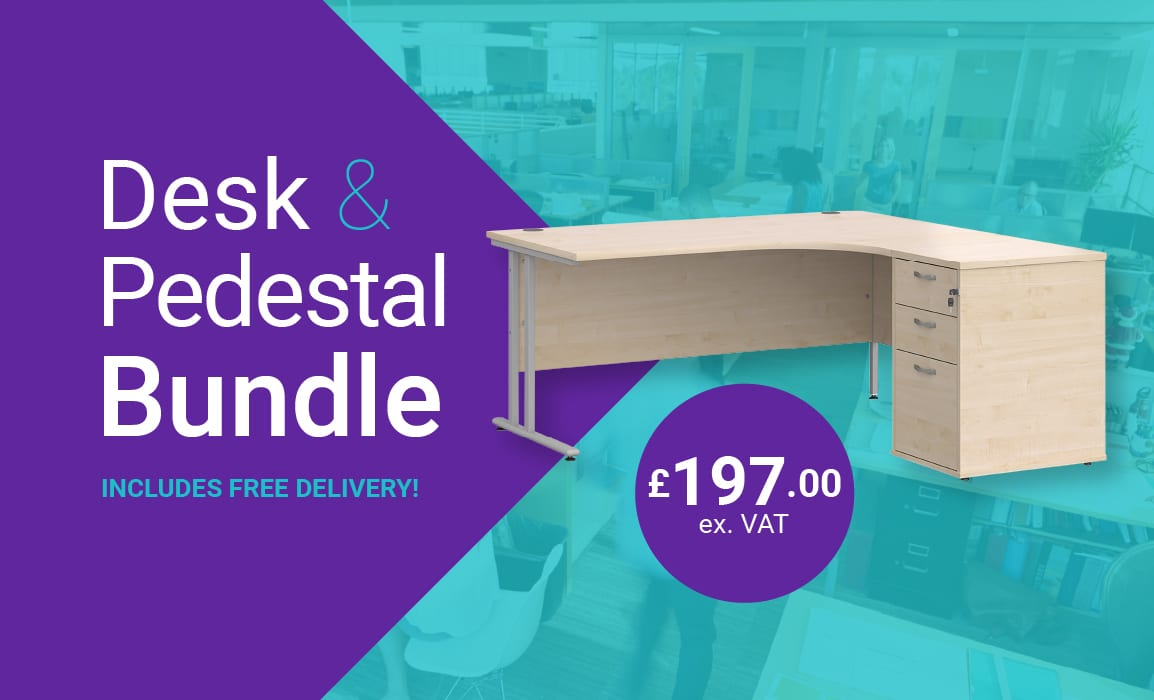 Desk & Pedestal Bundle  £197.00 ex vat – Free Delivery