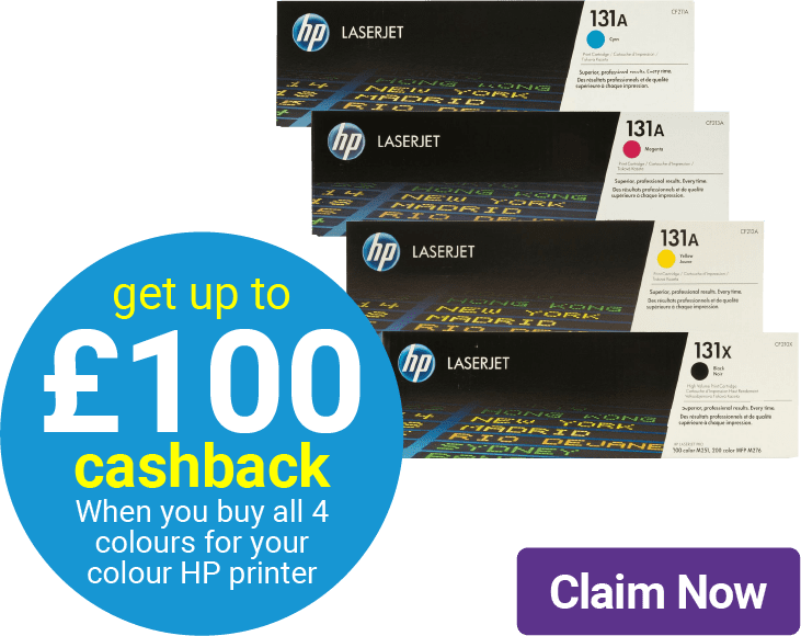 get up to 100 cashback when you buy all 4 colours for your colour HP printer