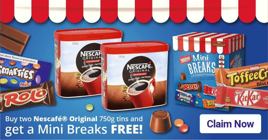 special offer buy two nescafe orignal 750g tins and get a mini breaks free