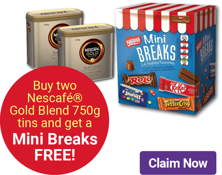 Buy two Nescafé® Gold Blend 750g tins and get a Mini Breaks FREE!