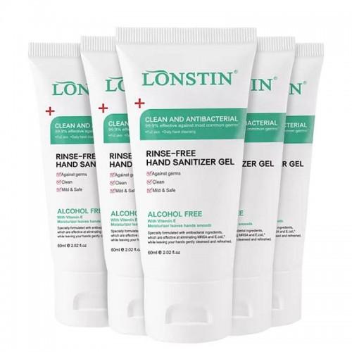 Lonstin Anti-Bacterial Hand Sanitiser 60ml ALCOHOL-FREE Family Pack of 5