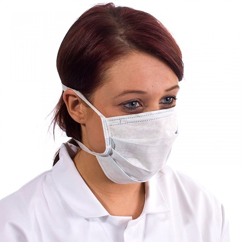 TIE-BACK Disposable Surgical Non-Woven Face Mask White (Box 50)