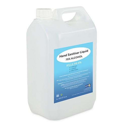 Hand Sanitiser Liquid 75% Alcohol 5L Refill Bottle