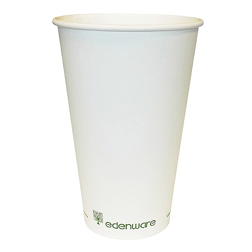 16oz Single Wall Coffee Cup Compostable White Diameter 90mm x Height 136mm