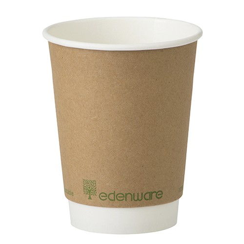 12oz Double Wall Coffee Cup Kraft Compostable Diameter 90mm x Height 108mm