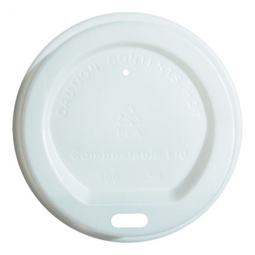 12oz/16oz Sip Through Coffee Cup Lid White Compostable Diameter 94mm x Height 19mm
