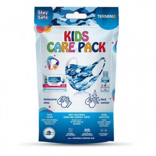 Reusable Protective Kids Care Pack (Mask, Sanitizer & Wipes) - BLUE