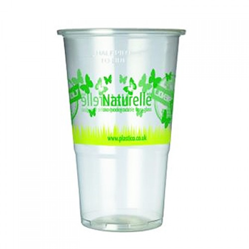 Biodegradable Flexy-Glass Half-Pint to line CE Marked 285ml / 10oz (Printed Design)