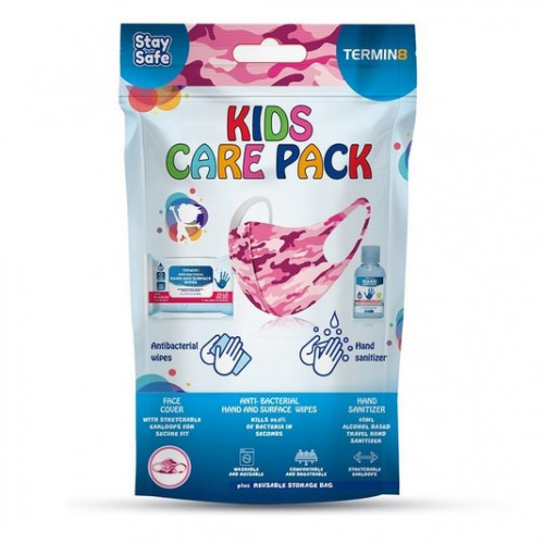 Reusable Protective Kids Care Pack (Mask, Sanitizer & Wipes) - PINK