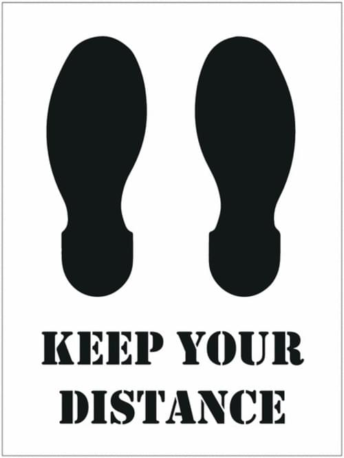 Social Distancing Floor Stencil Keep Your Distance / Footprints 450mm Diameter Self Adhesive Vinyl
