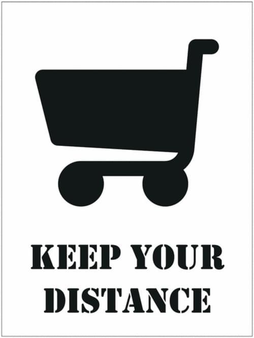 Social Distancing Floor Stencil Keep Your Distance / Trolley 450mm Diameter Self Adhesive Vinyl