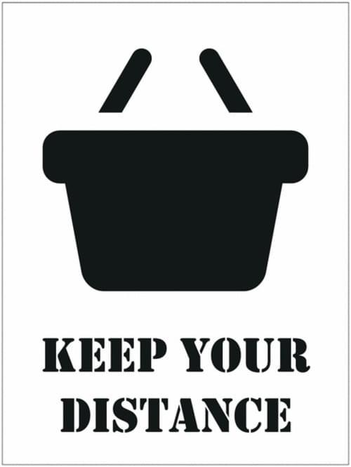 Social Distancing Floor Stencil Keep Your Distance / Basket 450mm Diameter Self Adhesive Vinyl