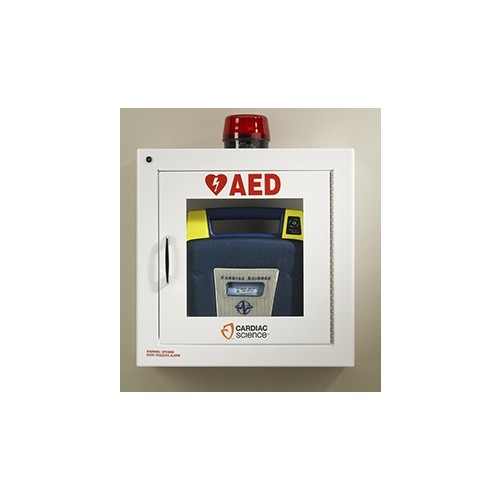 Cardiac Science Powerheart® Surface-Mounted AED Wall Cabinet Security Enabled With Alarm and Stobe