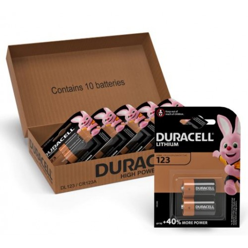 Duracell Lithium DL123 CR123A Batteries (Pack of 10)