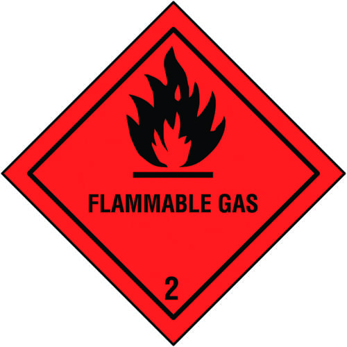 Flammable Gas Self Adhesive Hazard Warning Diamonds 200x200mm Self Adhesive Vinyl