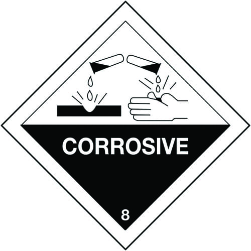 Corrosive Hazard Warning Diamonds 100x100mm Self Adhesive Vinyl (Roll of 310)