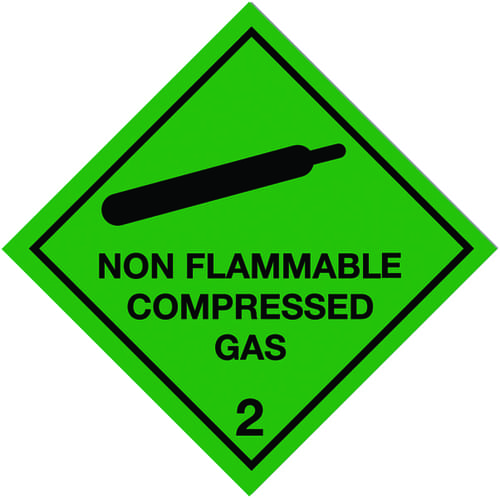 Non Flammable Compressed Gas Self Adhesive Hazard Warning Diamonds 100x100mm Self Adhesive Vinyl
