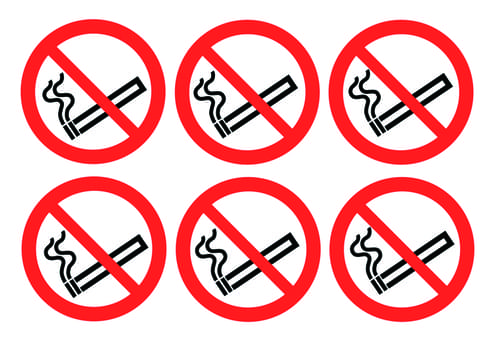 No Smoking Symbols Labels 100mm Self Adhesive Vinyl (Pack of 30)