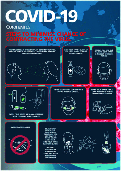 Covid 19 Steps To Minimise Chances of Contracting Coronavirus A4 Sign 1.2mm Polypropylene Includes Adhesive Backing