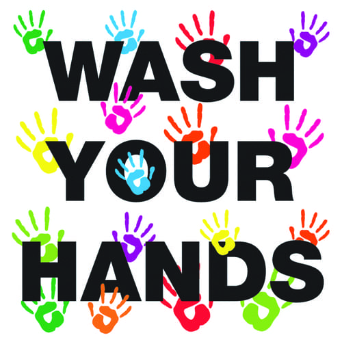 Wash Your Hands 200x200mm Sign Repositionable Self Adhesive Vinyl