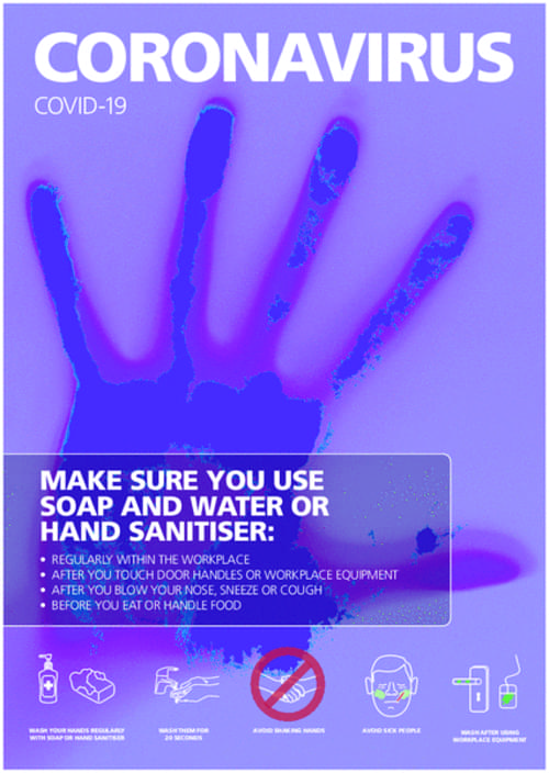 Covid 19 Make Sure You Use Soap and Water or Hand Sanitiser A4 Sign 1.2mm Polypropylene Includes Adhesive Backing