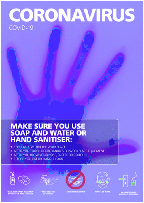 Covid 19 Make Sure You Use Soap and Water or Hand Sanitiser A4 Sign Self Adhesive Vinyl