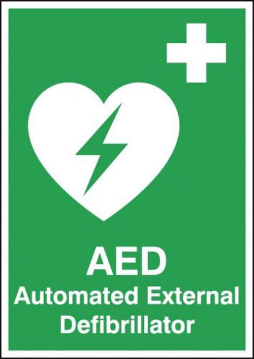 Automated External Defibrillator 420x297mm 1.2mm Rigid Plastic
