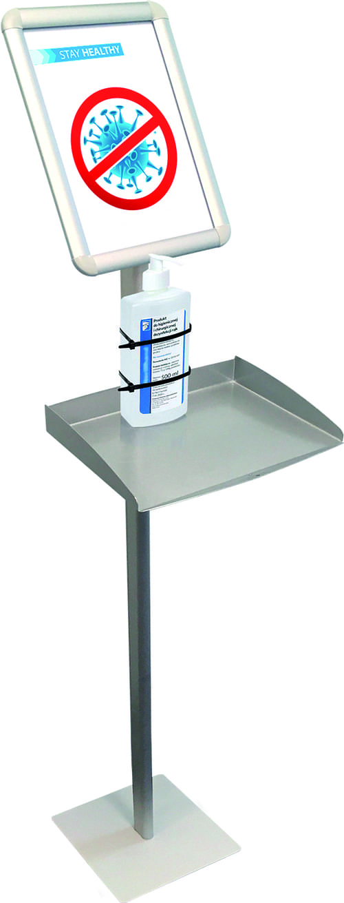 Information Display Stand with A4 Tray Format Silver
