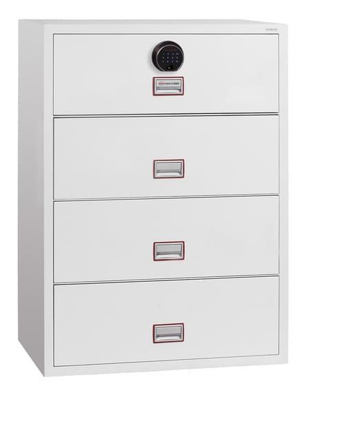 Phoenix World Class Lateral Fire File FS2414F 4 Drawer Filing Cabinet with Fingerprint Lock
