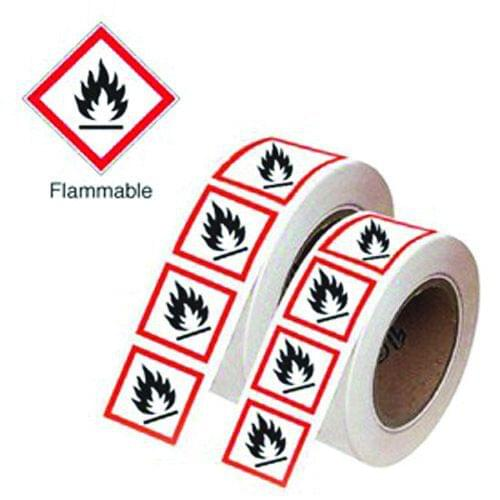 Flammable GHS Symbols on a Roll 21x21mm