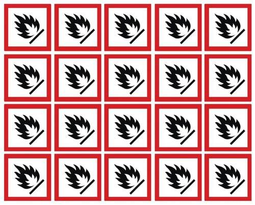 Flammable GHS Symbols on a Sheet 100x100mm