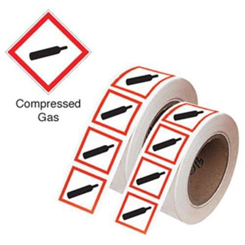 Compressed Gas GHS Symbols on a Roll 100x100mm