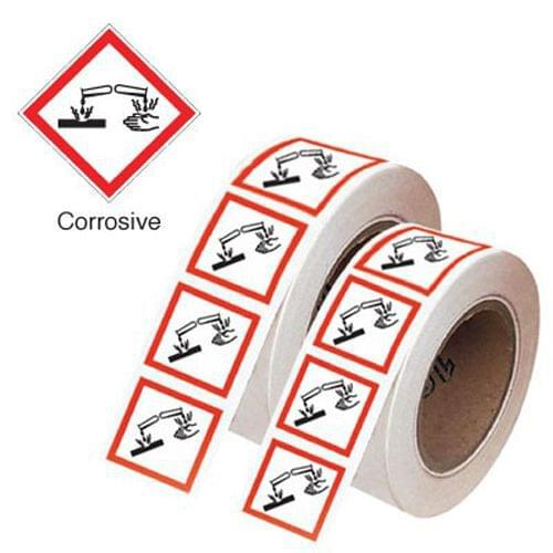Corrosive GHS Symbols on a Roll 21x21mm