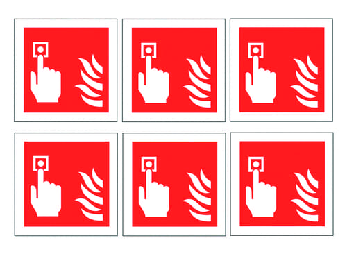 Fire Alarm Call Point Symbols Labels 100mm Self Adhesive Vinyl (Pack of 30)